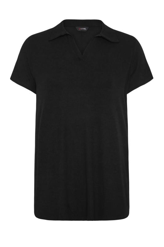 Black Ribbed V-Neck Polo Top_F.jpg