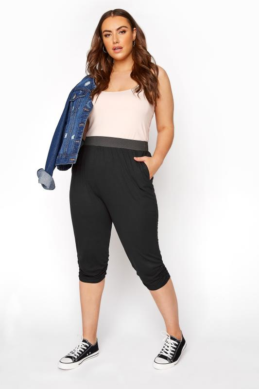 Cropped Trousers dla puszystych Black Cropped Harem Trousers