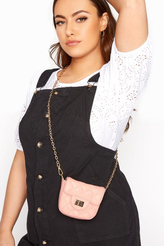 Pink Quilted Chain Crossbody Bag