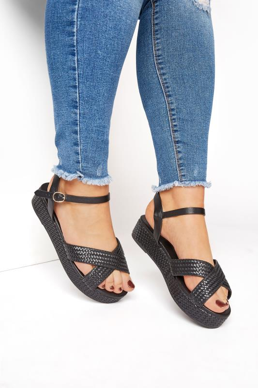 Grande Taille LIMITED COLLECTION Black Weave Platform Sandal In Extra Wide Fit