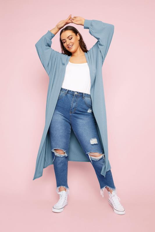 Plus Size  LIMITED COLLECTION Denim Blue Long Cardigan