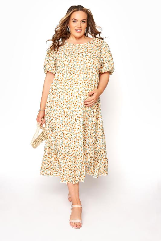 BUMP IT UP MATERNITY Ivory Floral Puff Sleeve Smock Dress_B.jpg
