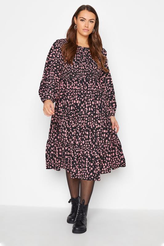 Grande Taille Black Dalmatian Print Shirred Smock Midi Dress
