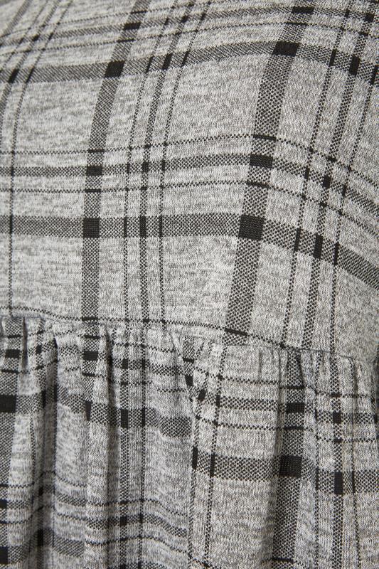Grey Check Frill Knitted Peplum Top_S.jpg