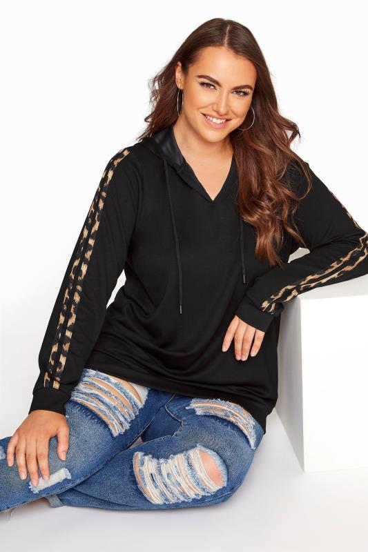 Plus Size  Black Leopard Stripe Hoodie