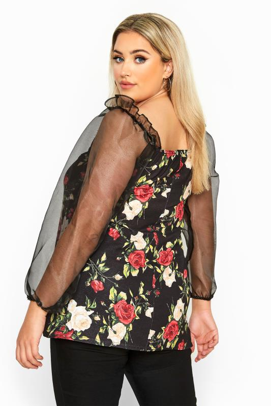 LIMITED COLLECTION Black Floral Organza Long Puff Sleeve Top