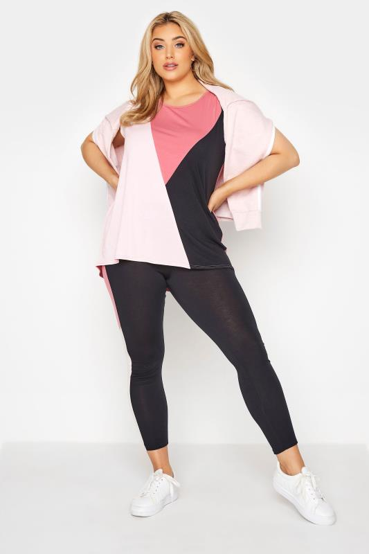 LIMITED COLLECTION Black & Pink Colour Block Leggings_A.jpg