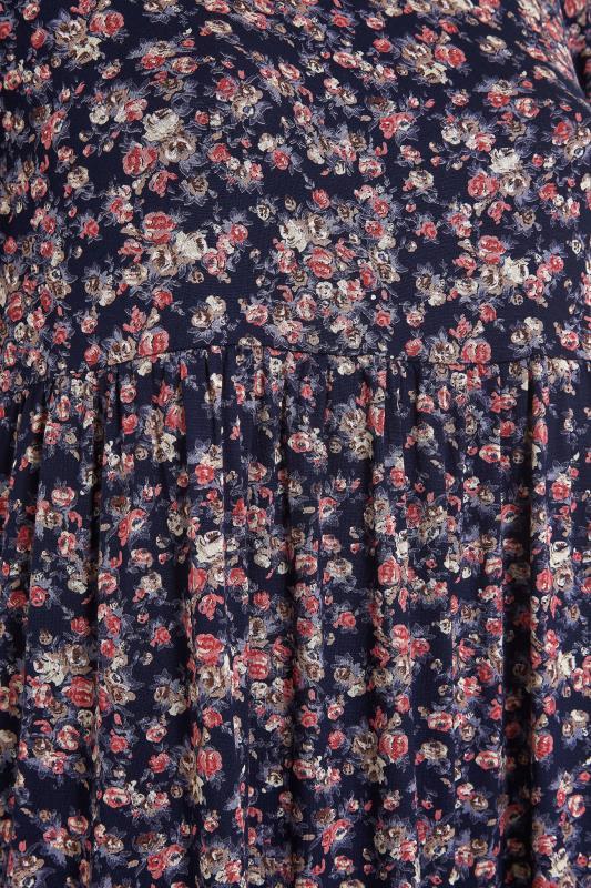 Navy Floral Puff Sleeve Midaxi Dress_S.jpg