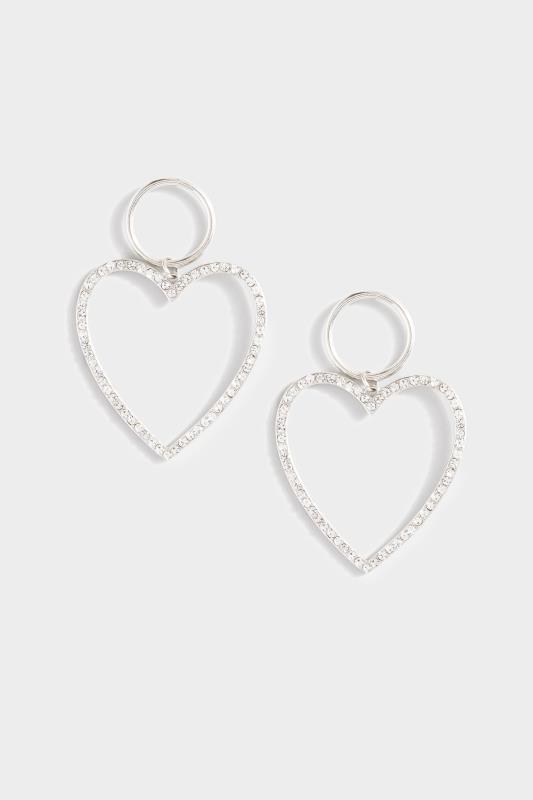 Yours Silver Diamante Heart Drop Earrings