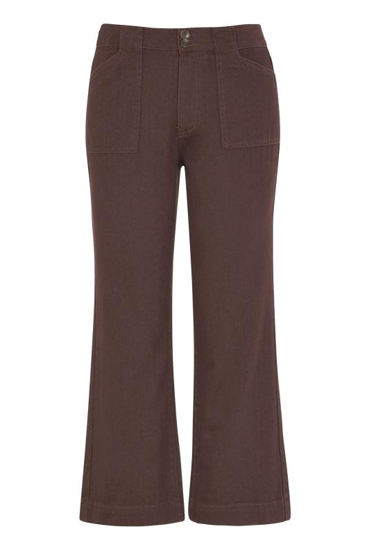 Brown Cotton Twill Kick Flare Cropped Trouser_F.jpg