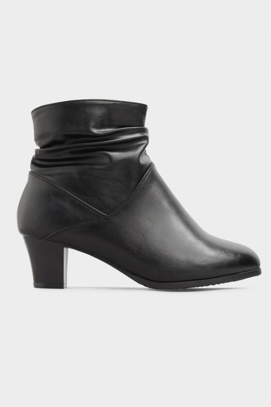 Black Vegan Faux Leather Ruched Heeled Ankle Boots In Extra Wide Fit_A.jpg