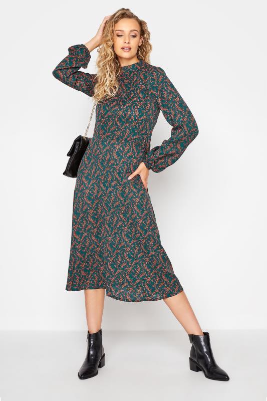 LTS Green Floral Print Fit & Flare Midaxi Dress_B.jpg