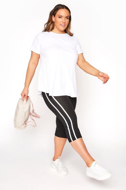 Plus Size  Black Side Stripe Cropped Leggings
