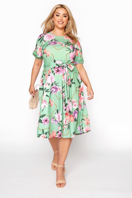 YOURS LONDON Green Floral Chain Print Puff Sleeve Skater Dress_B.jpg