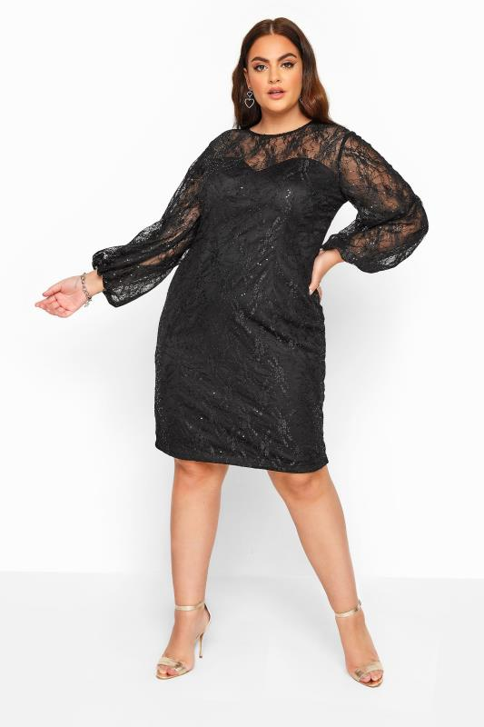 CHI CHI Black Sequin Embroidered Balloon Sleeve Dress