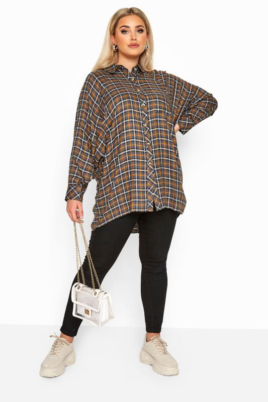 LIMITED COLLECTION Grey & Brown Check Oversized Batwing Sleeve Shirt