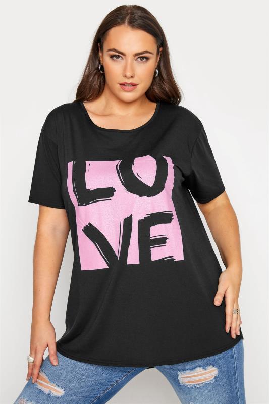 Plus Size  Black 'Love' Boyfriend T-Shirt