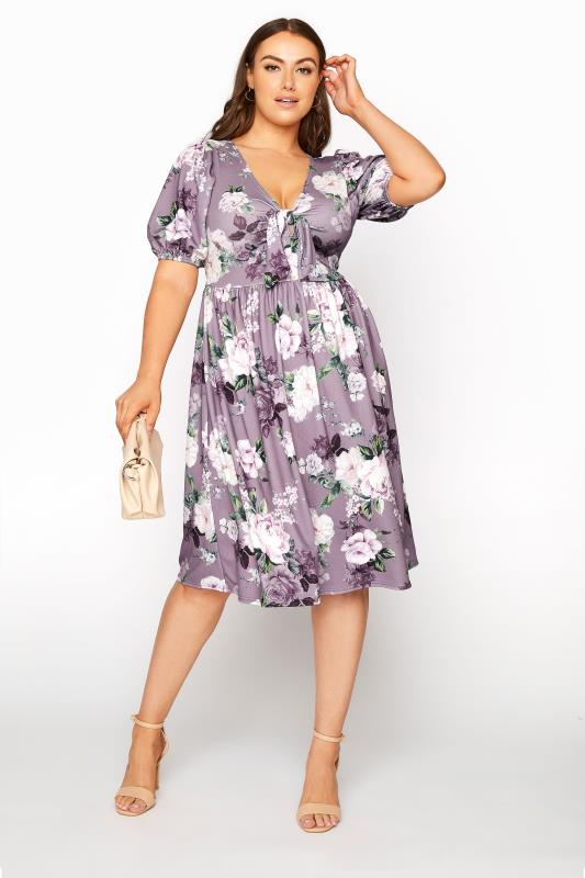 YOURS LONDON Lilac Floral Bow Front Dress_B.jpg