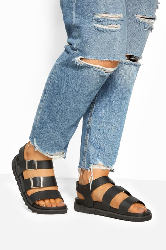 Wide Fit Sandals LIMITED COLLECTION Black Footbed Buckle Sandals In Extra Wide Fit