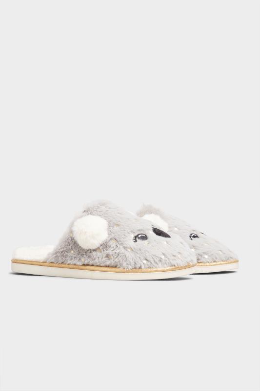 Grey Vegan Faux Fur Koala Mule Slippers In Regular Fit_B.jpg