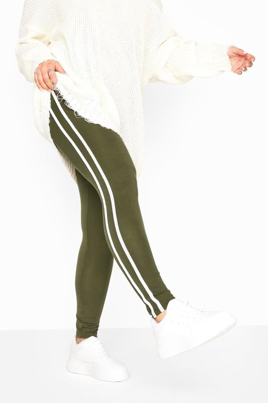 Khaki Jersey Tape Leggings