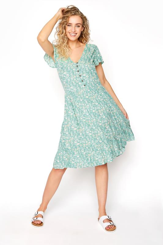 Tall  LTS Turquoise Floral Angel Sleeve Dress