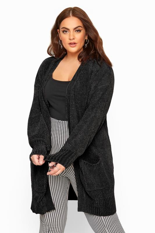 Plus Size Cardigans Black Balloon Sleeve Chenille Knitted Cardigan