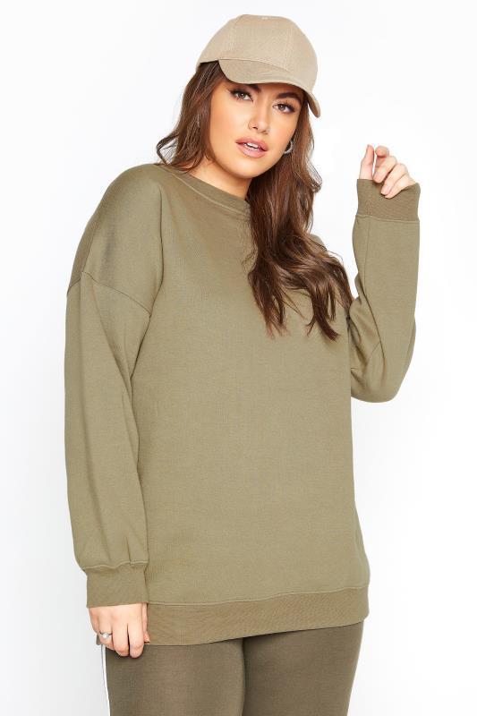 LIMITED COLLECTION Khaki Cotton Jersey Sweatshirt