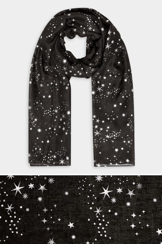 Yours Black Foil Star Print Scarf