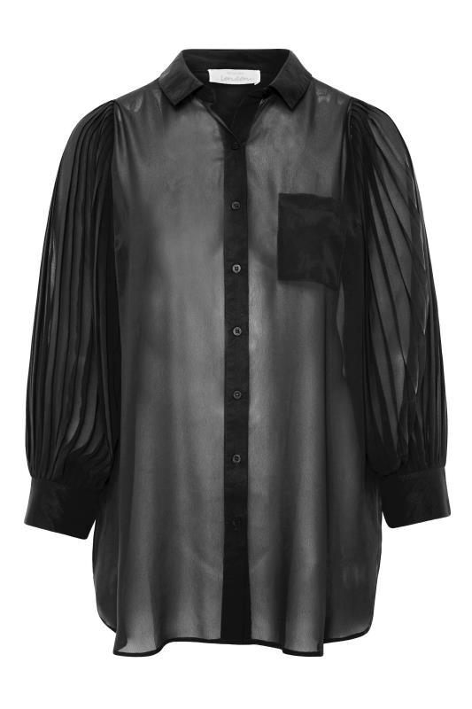 YOURS LONDON Black Pleated Balloon Sleeve Shirt_F.jpg