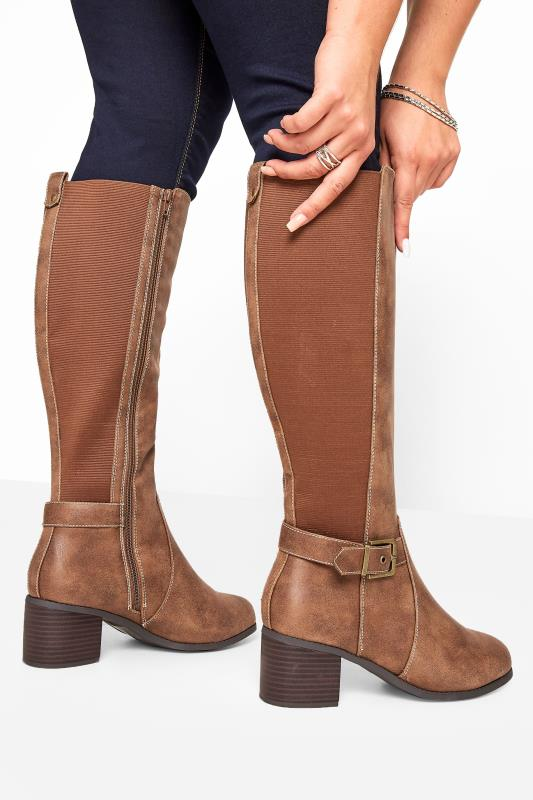 Tan Vegan Faux Suede Buckle Knee High Heeled Boots In Extra Wide Fit