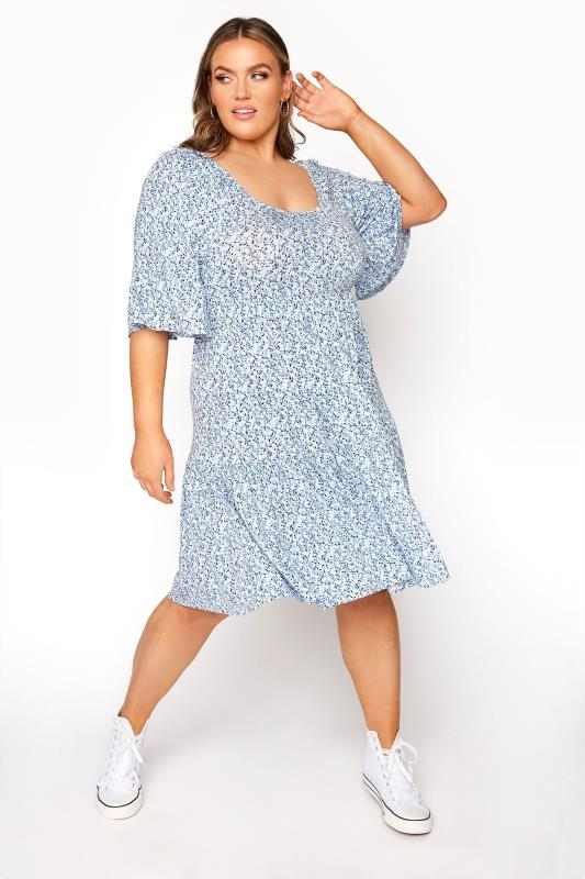 Plus Size  LIMITED COLLECTION Baby Blue Floral Off The Shoulder Dress