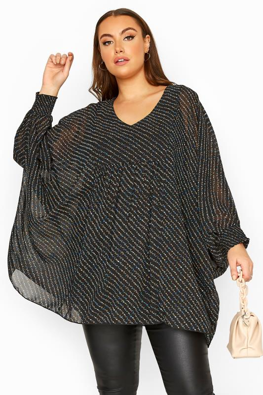 Plus Size  LIMITED COLLECTION Black Chiffon Ditsy Batwing Top