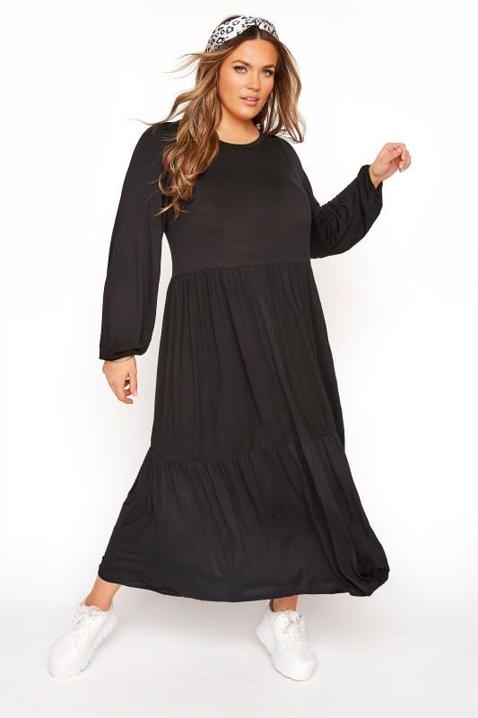 Plus Size Black Dresses Black Balloon Sleeve Tiered Midaxi Dress