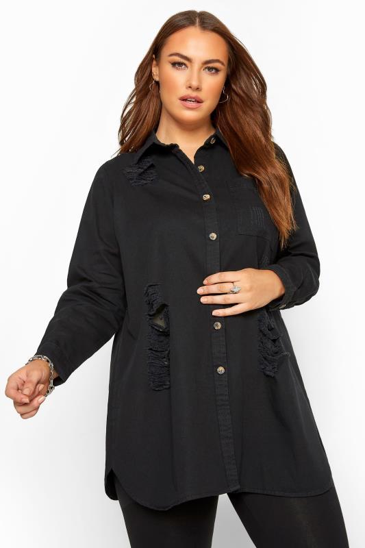 Black Distressed Denim Shirt_A.jpg