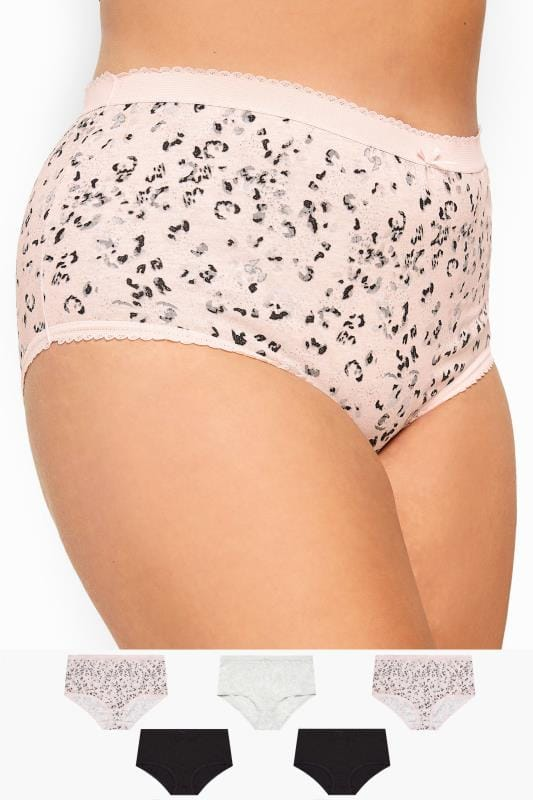 Plus Size Briefs & Knickers 5 PACK Multi Sparkle Animal Print Full Briefs