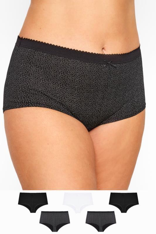 Plus Size Shorts dla puszystych 5 PACK Black Polka Dot Full Briefs