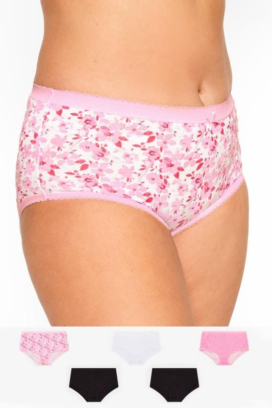Plus Size Multipacks 5 PACK Assorted Floral & Spot Full Briefs