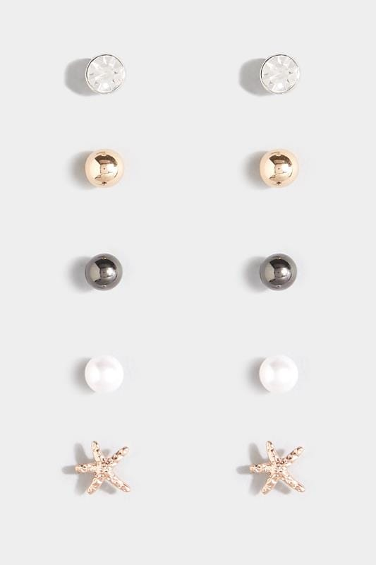 5 PACK Assorted Pearlescent Stud Earrings