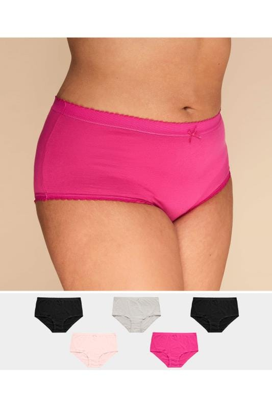 5 PACK Assorted Pink Full Briefs