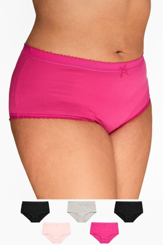 Multi Value Packs dla puszystych 5 PACK Assorted Pink Full Briefs