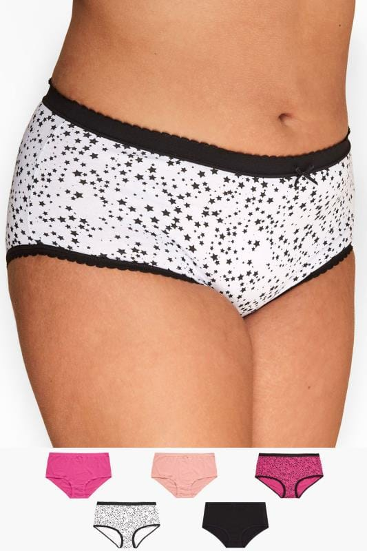 Plus Size Briefs 5 PACK Assorted Star Print Full Briefs