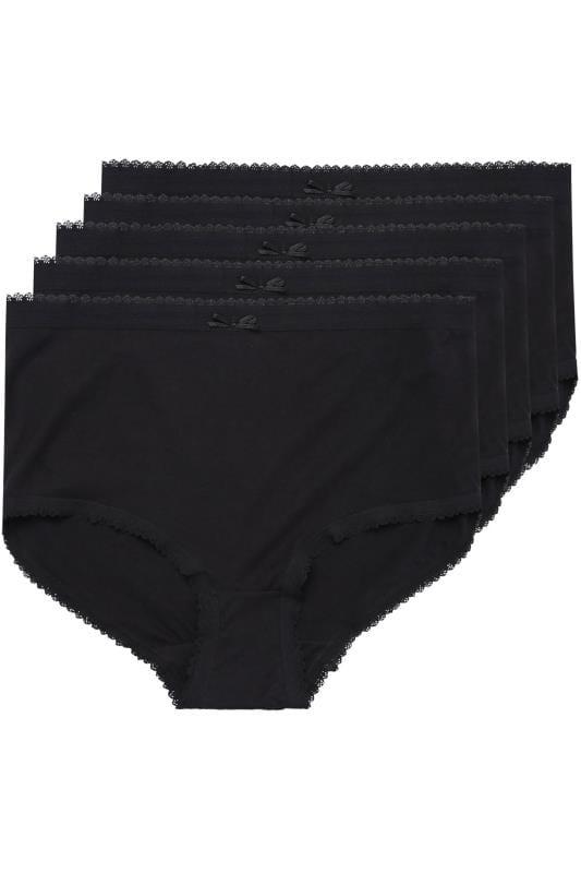 5 PACK Black Cotton Full Brief