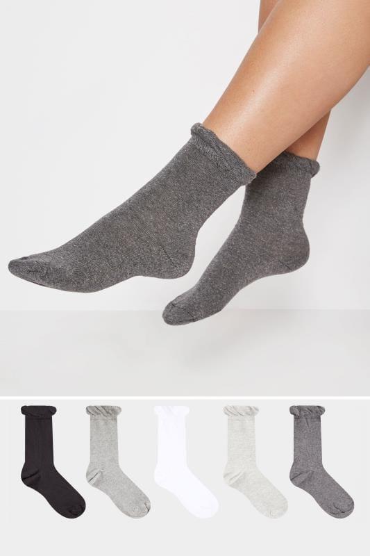 5 PACK Black, Grey & White Assorted Socks