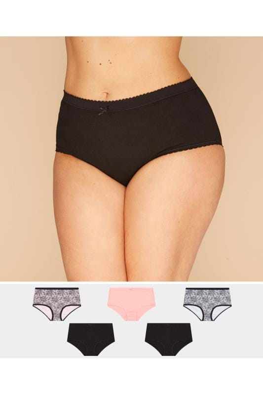 5 PACK Black & Pink Lace Full Briefs