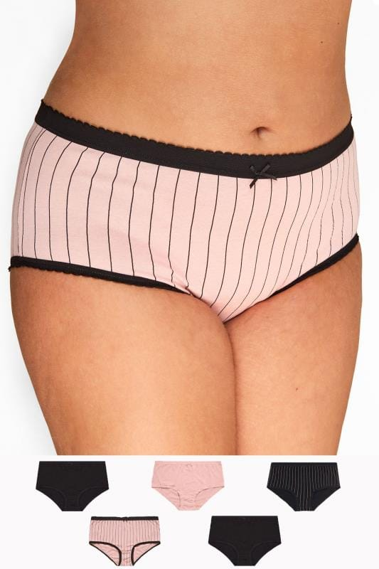 Plus Size Multi Value Packs 5 PACK Black & Pink Striped Full Briefs