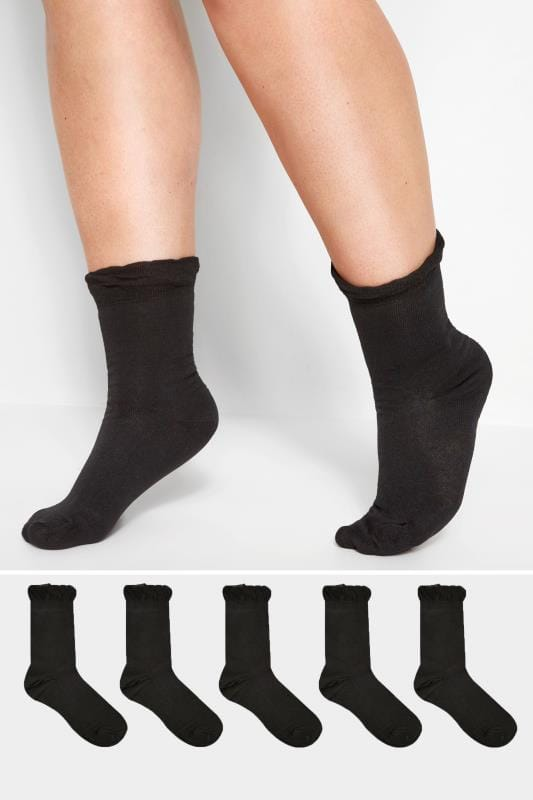 Plus Size Socks Grande Taille 5 PACK Black Socks