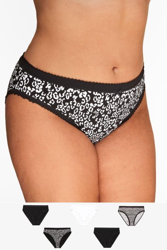 5 PACK Black & White Animal Print High Leg Briefs