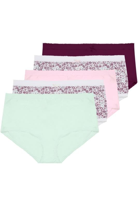 5 PACK Multicoloured Floral Full Briefs