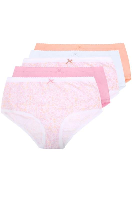 Plus Size Briefs & Knickers 5 PACK Pastel Ditsy Floral Full Briefs